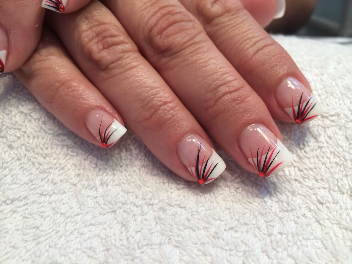 French nails with red flicks | Maddison Avenue nail design ...