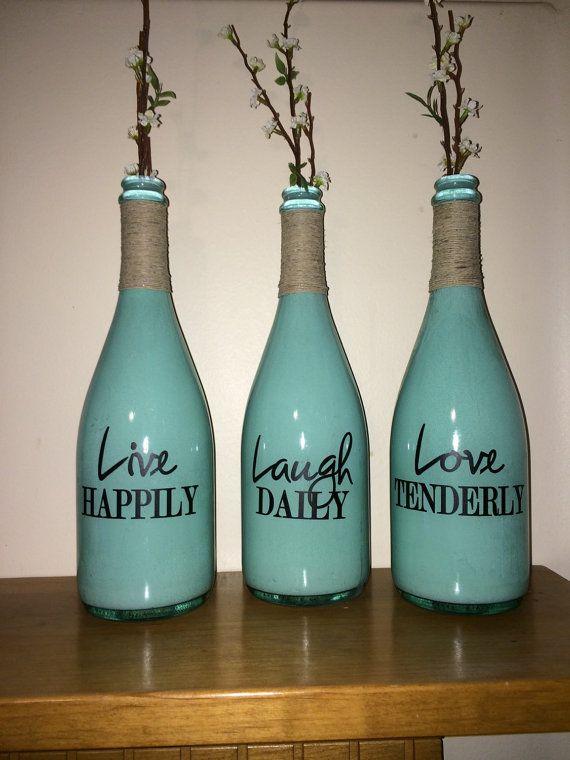 Live laugh love wine bottle champagne bottle vases crafts for Liquor bottle vases