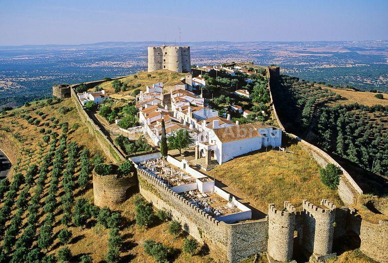 Aerial View Of Evoramonte Castle Alentejo Portugal Portugal
