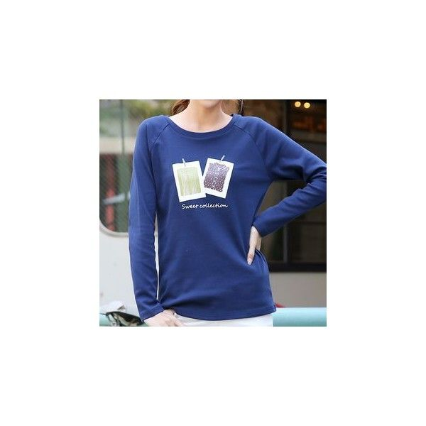 Printed Long-Sleeve T-shirt ($23) ❤ liked on Polyvore featuring tops, t-shirts, tees, women, long sleeve tees, blue top, longsleeve tee, blue long sleeve tee and blue long sleeve t shirt