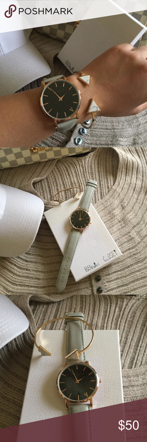 Oversized grey watch Brand new with the gift box. Oversized.minimalist.the genuine leather with the rose gold. the fifth Accessories Watches