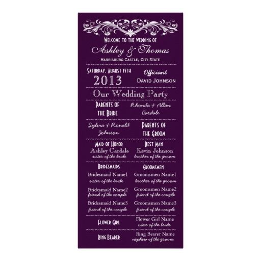 Wedding Hairstyle Courses: Vintage Typography Style Purple Wedding Programs