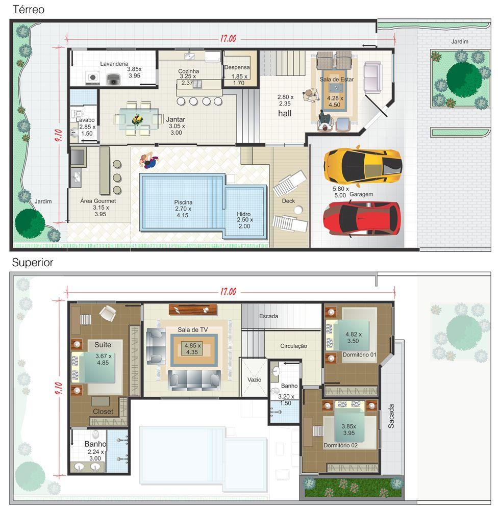 Planta de casa sobrado em l com piscina planta pronta for Casa moderna americana