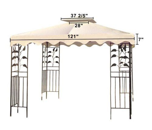 10x10 Ft Patio Canopy Replacement Top For Gazebo Ivory By Mega Brands 57 95 Zippered Ventilated Top With Mosquito Netting Gazebo Gazebo Canopy Patio Canopy