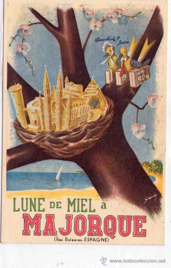 This poster was to promote honeymoons in Mallorca and the  -> Vintage Möbel Palma De Mallorca