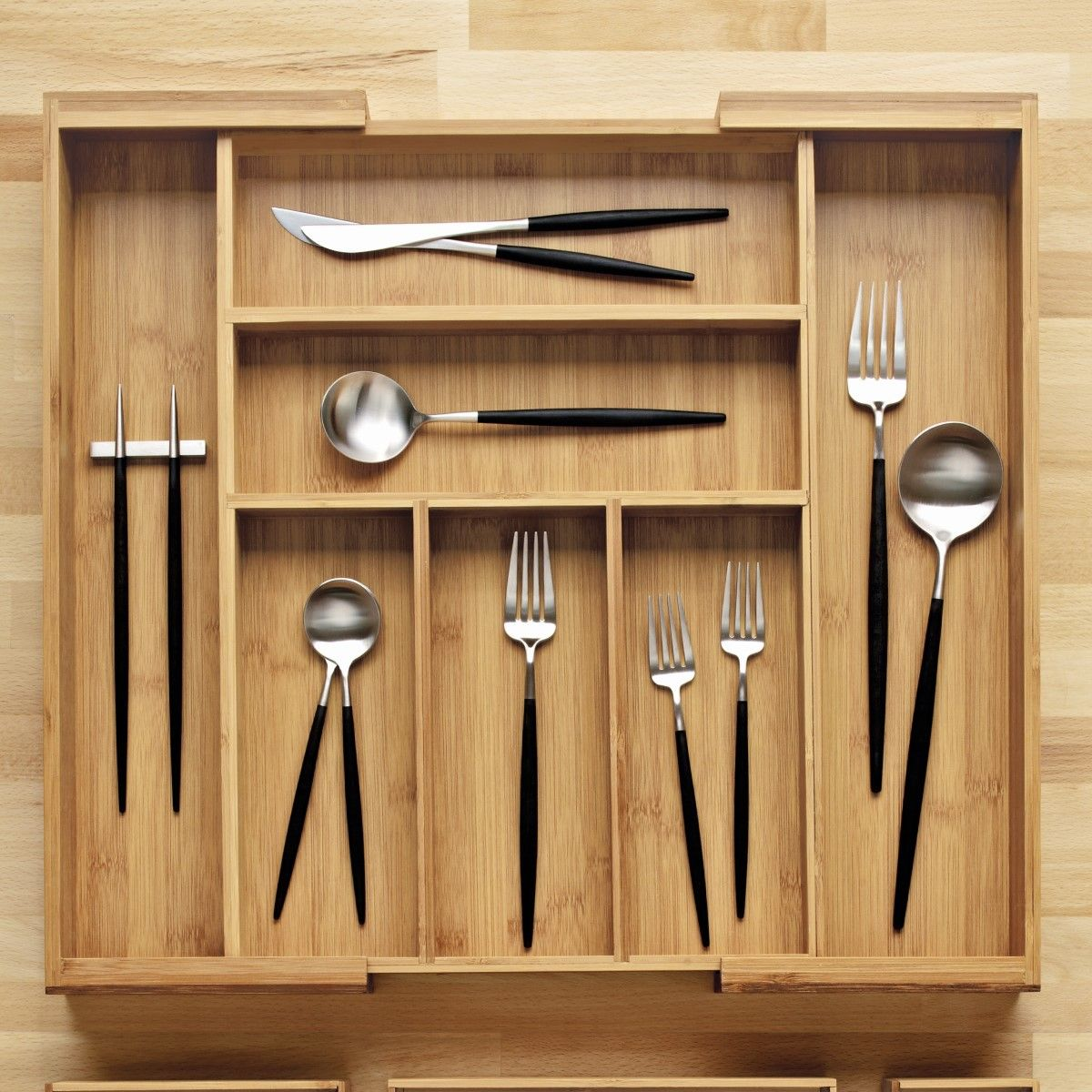 Expandable Bamboo Silverware Tray In 2020 Cutlery Tray Bamboo Silverware Silverware Tray
