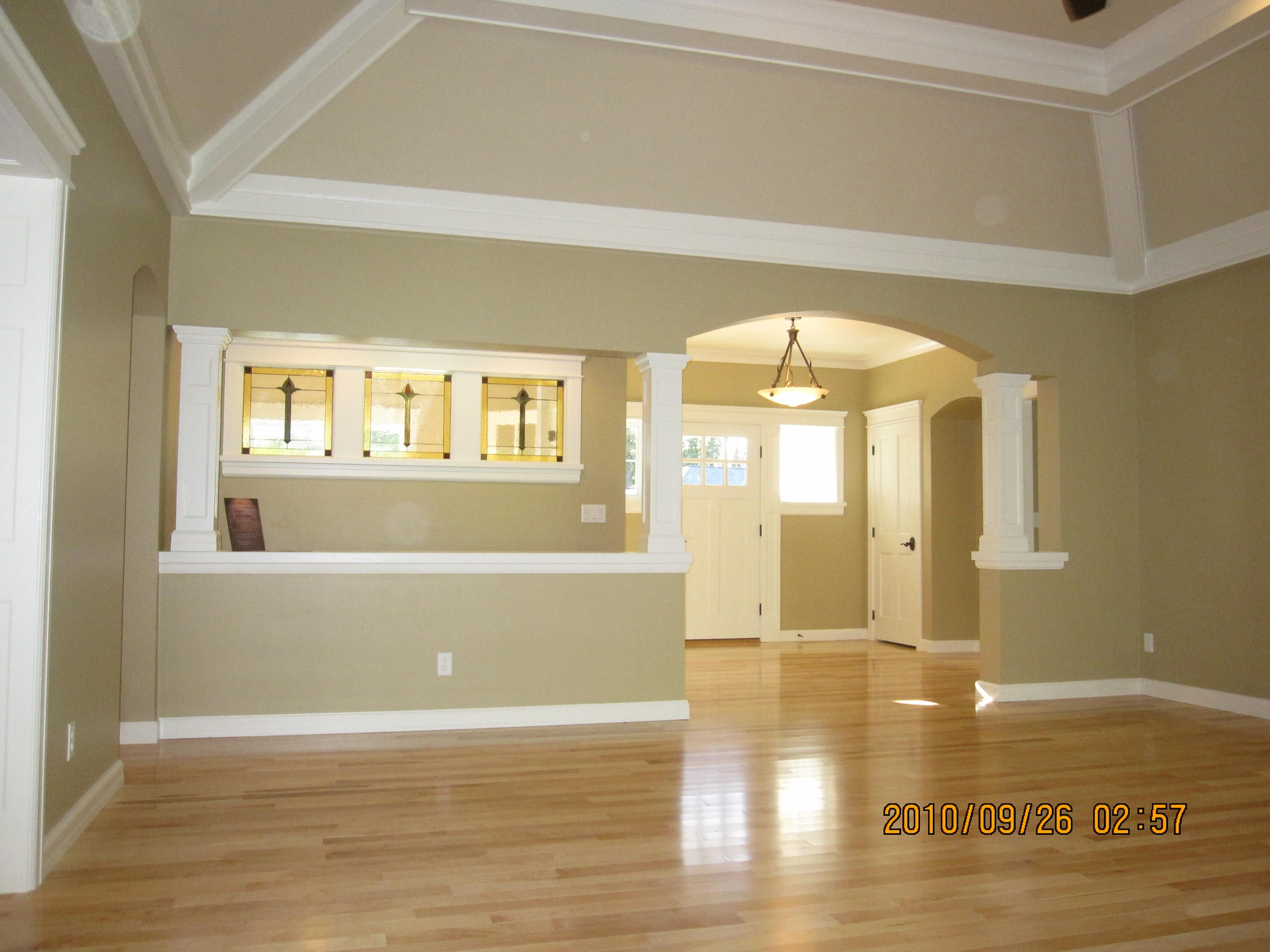 Foyer Tray Ceiling : Ceiling beams ideas view from great room into open foyer
