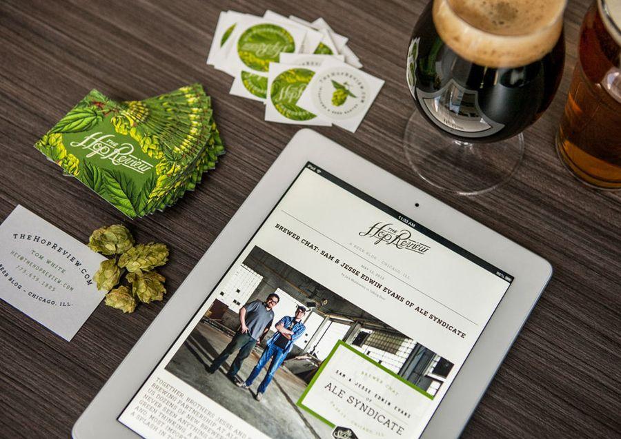 Logo, illustration, print and website designed by Jack Muldowney for beer blog The Hop Review