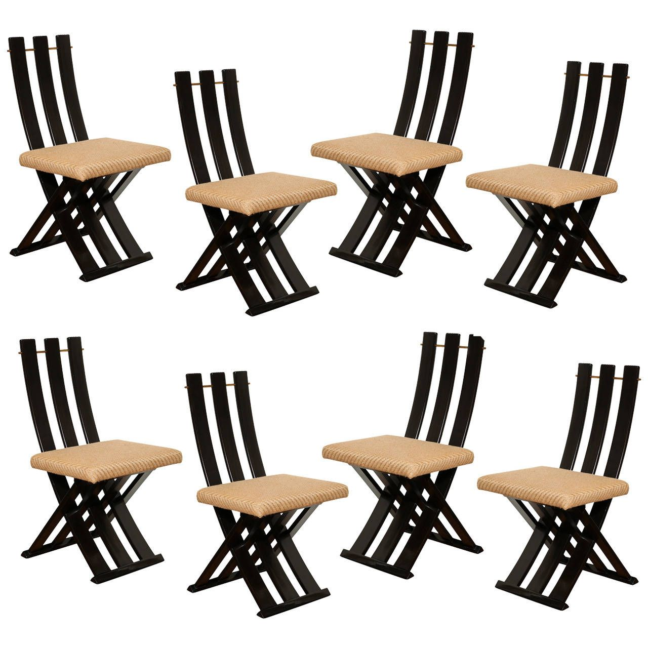 A Set of Eight MidCentury Modern Scissor Chairs by Harvey