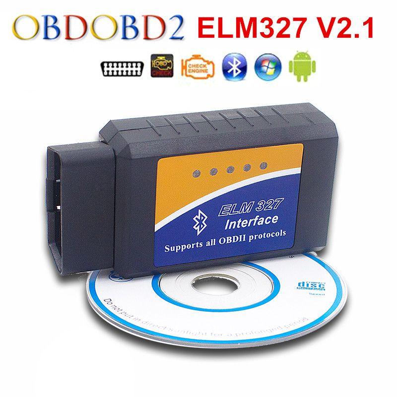 Más nueva ELM327 Bluetooth OBDII V2.1 DEL OLMO 327 CAN-BUS Protocolos OBD2 Coche Escáner de Diagnóstico Para Android Torque 7 Tipos Envío Gratis
