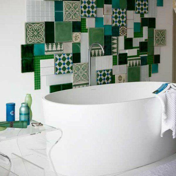 badfliesen fliesenmuster wandfliesen grün patchwork Badezimmer - fliesenmuster für badezimmer
