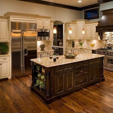 Spaces Light Granite Countertops AND Dark Cabinets AND Wood Floors