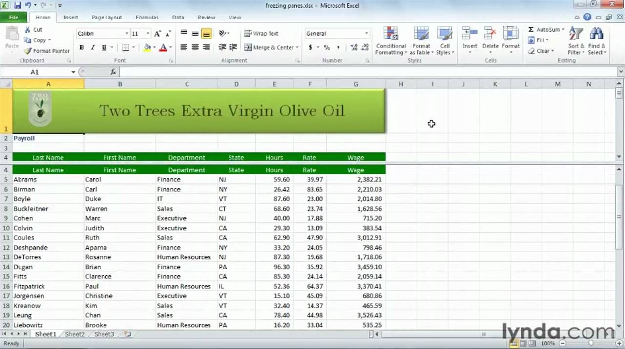 How To Freeze Panes In Excel Lynda Com Tutorial Excel Tutorials Excel Microsoft Excel Tutorial