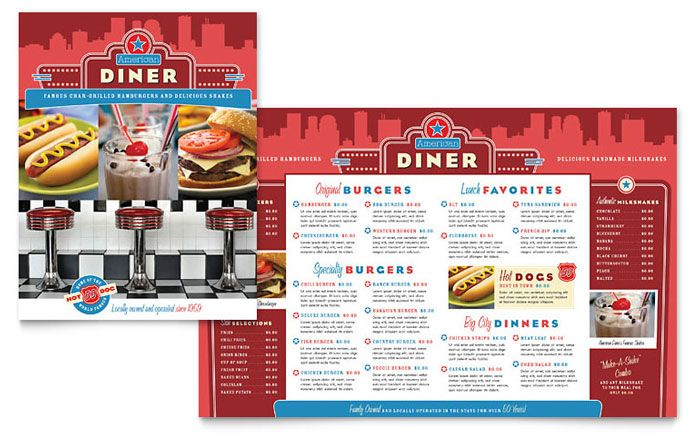 american diner restaurant menu design template by stocklayouts