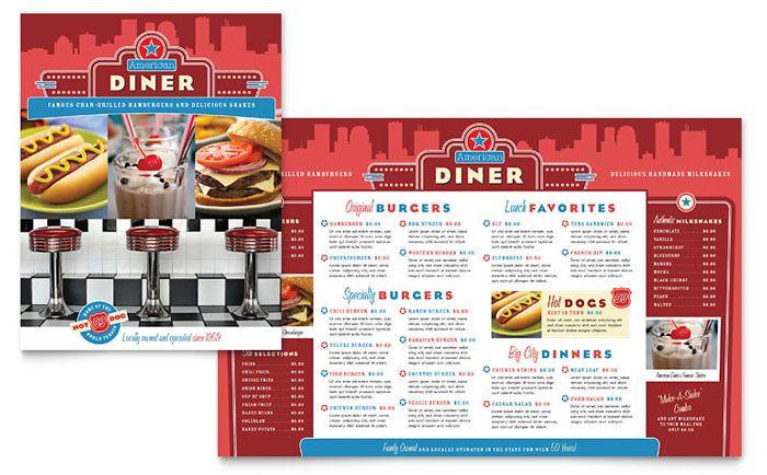 American Diner Restaurant Menu Design Template by StockLayouts - free food menu template
