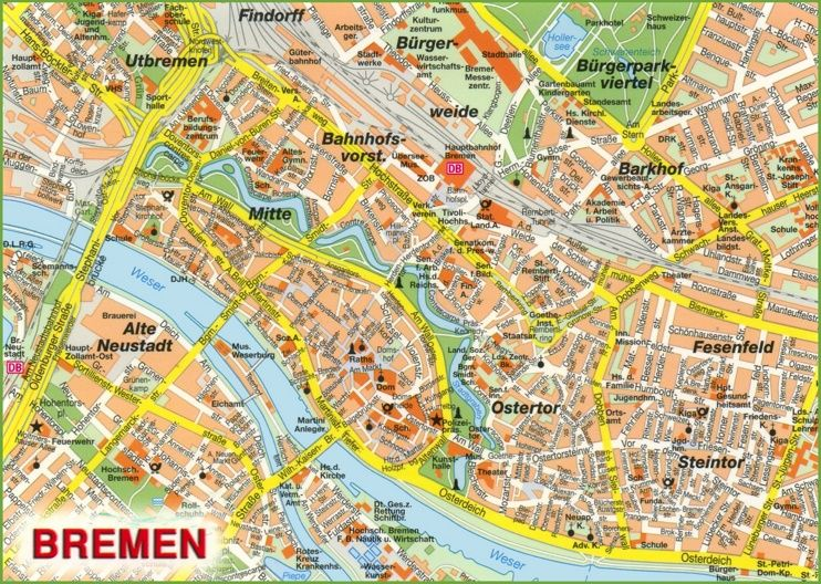 Bremen sightseeing map Maps Pinterest Bremen and City