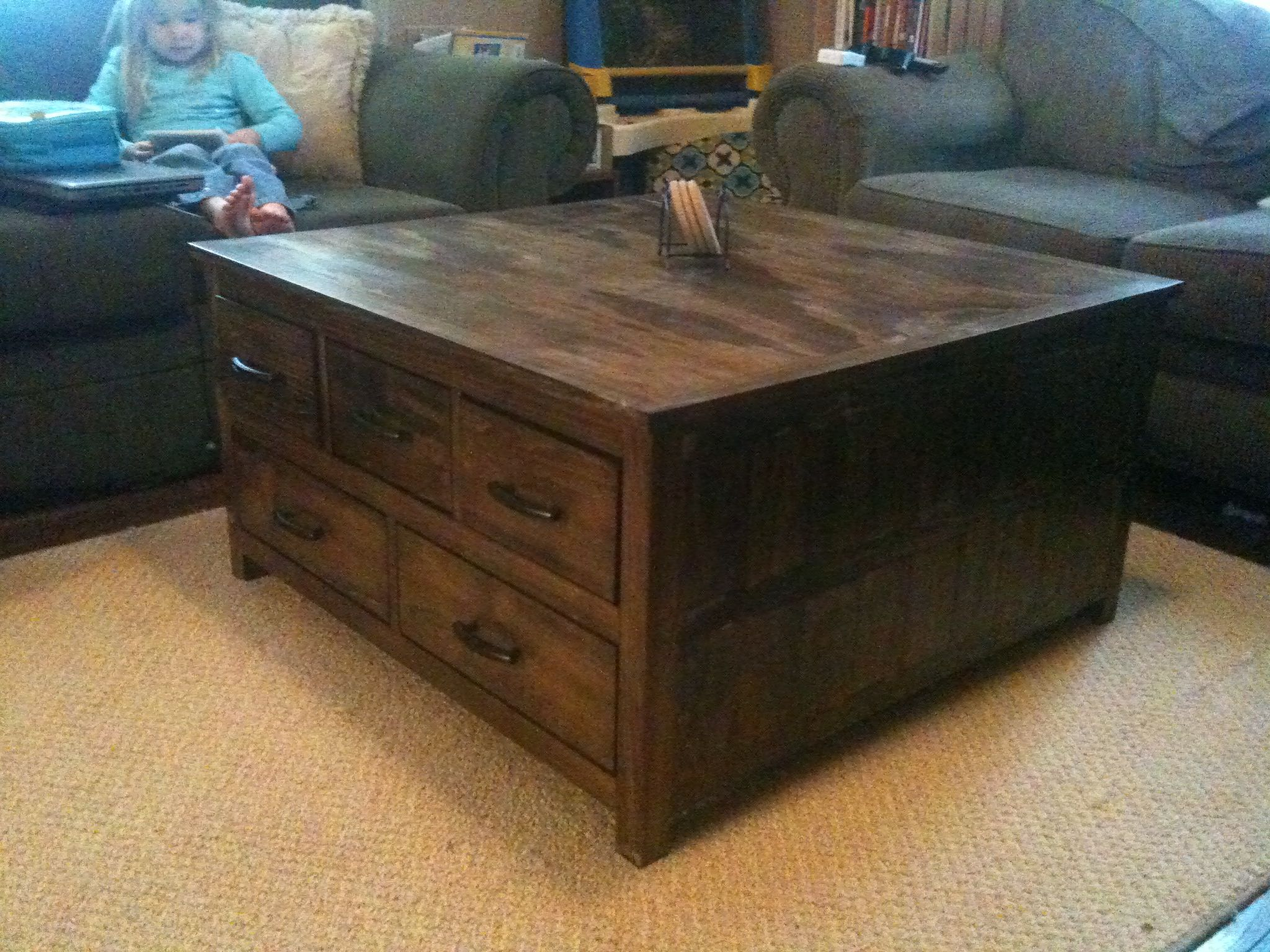 Square coffee table with storage storage coffee table do it yourself home projects from ana Do it yourself coffee table