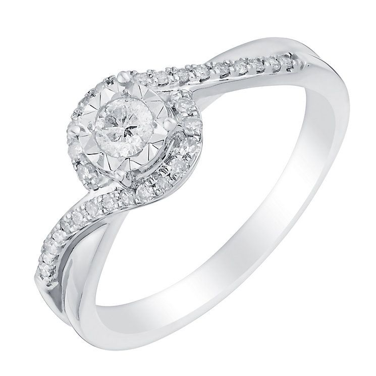 9ct white gold 25pt illusion set solitaire diamond ring Product