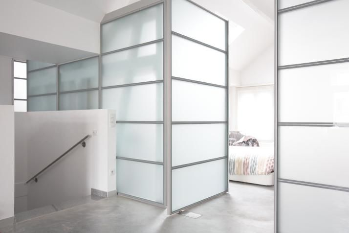 Plexiglass Walls. Clean, Low Maintenance, Lets Light In, Provides Privacy,  Requires No Paint Or Trim, Visual Interest From Dividers.