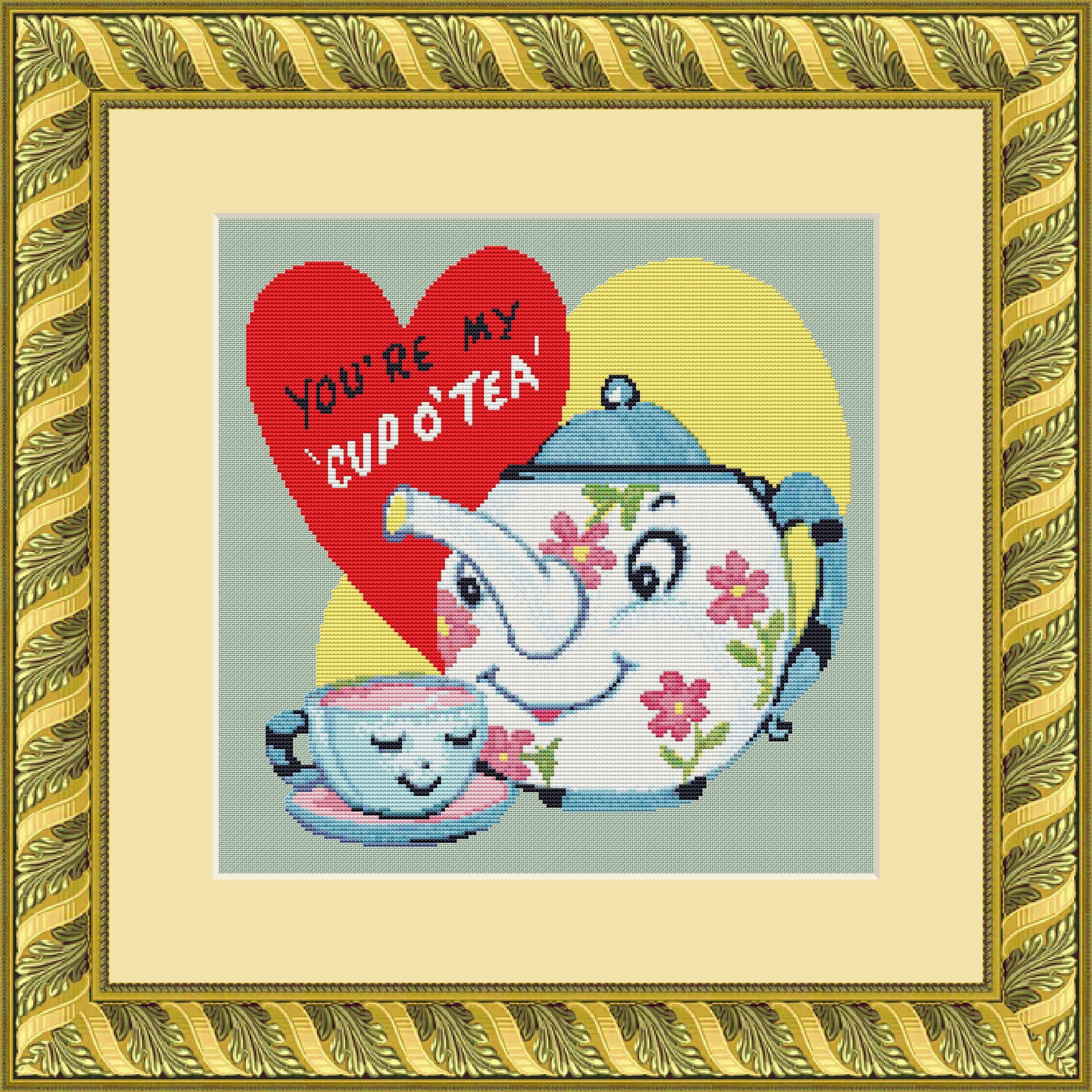 Tea Cross Stitch Pattern PDF | Vintage Valentine | Kitchen Decor ...