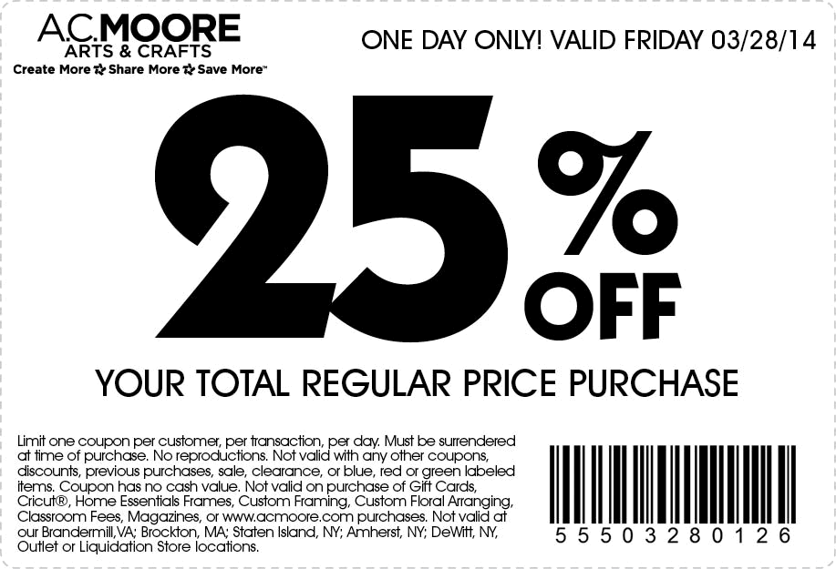photograph regarding Ac Moore Printable Coupon identify Pinned March 27th: 25% off the tab Friday at #A.C. Moore