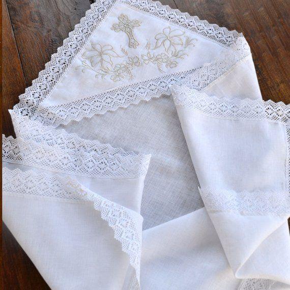 Christening Blanket Christening Cotton Blanket Baptism Towel Christening Gift