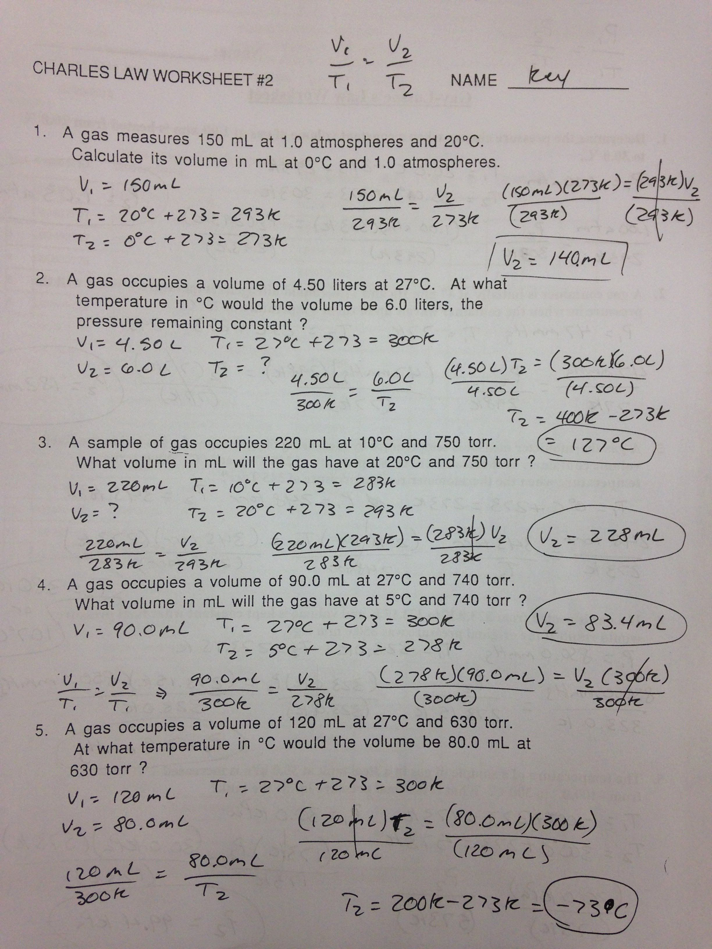 Boyles Law Worksheet