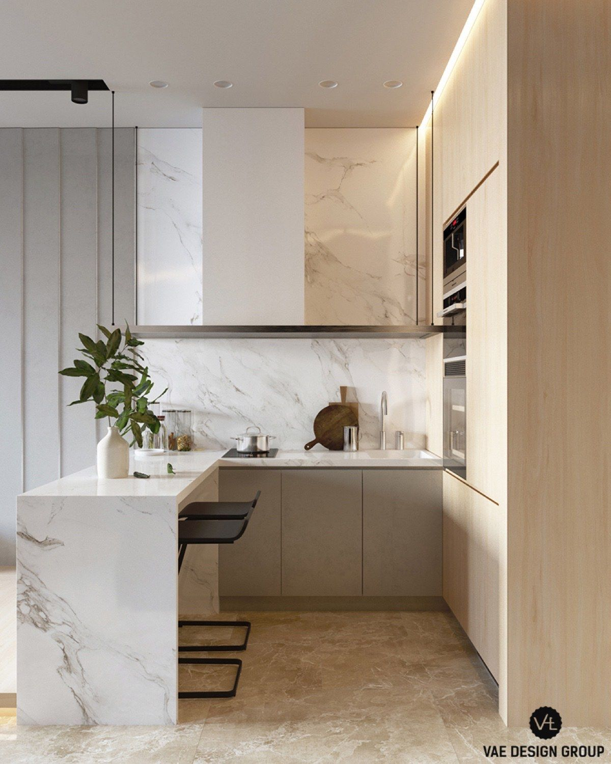 3 Small Studio Apartments That Exude Luxurious Space Small Apartment Kitchen Kitchen Decor Apartment Studio Apartment Kitchen