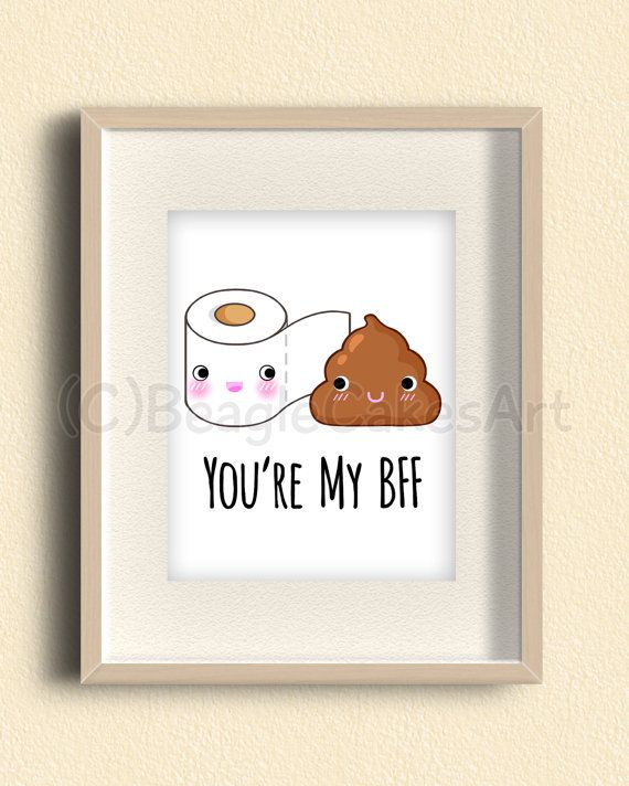 Best Friends Art Print. Poop Art. Bathroom Decor. Gift for Friend. Funny Art…
