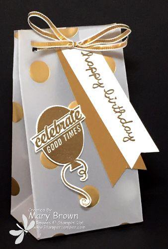 stampercamper.com - It's time for another Create with Connie and Mary design team blog hop and our theme this time is 'Metallica'...use the shiny gold or silver.  I thought right away of this paper and thought it would be perfect for a small favor.  It it was gold...it's on there!  For all the details, and to start the hop, visit my blog.  Sets:  Sprinkles on Top, Sweet Stack