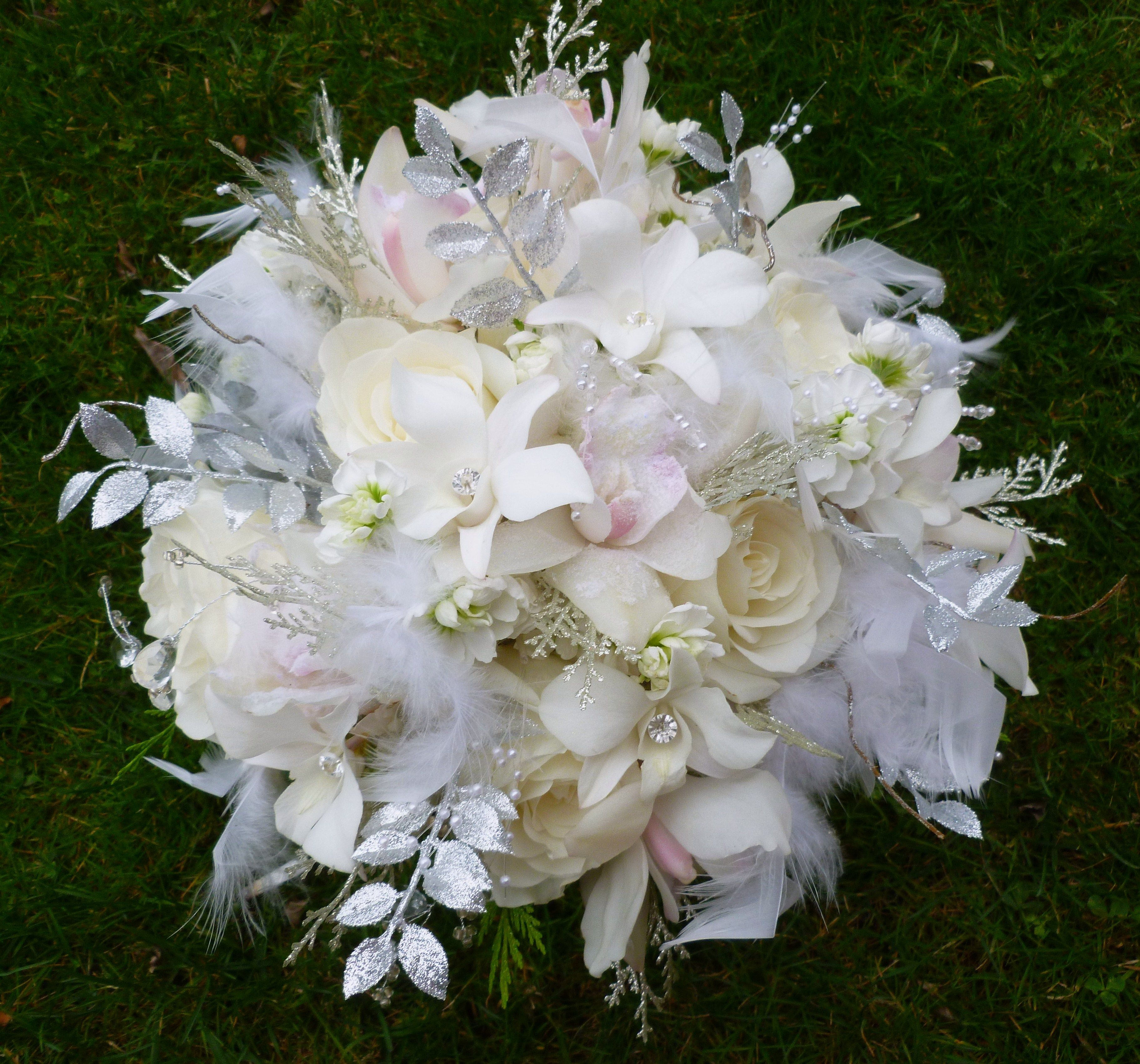 All White Winter Bouquet With White Roses White