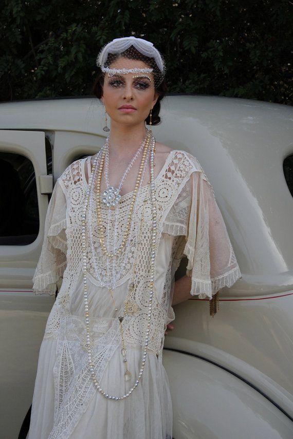 Great Gatsby Fler Queen Sheer Lace Wedding Dress Ooak