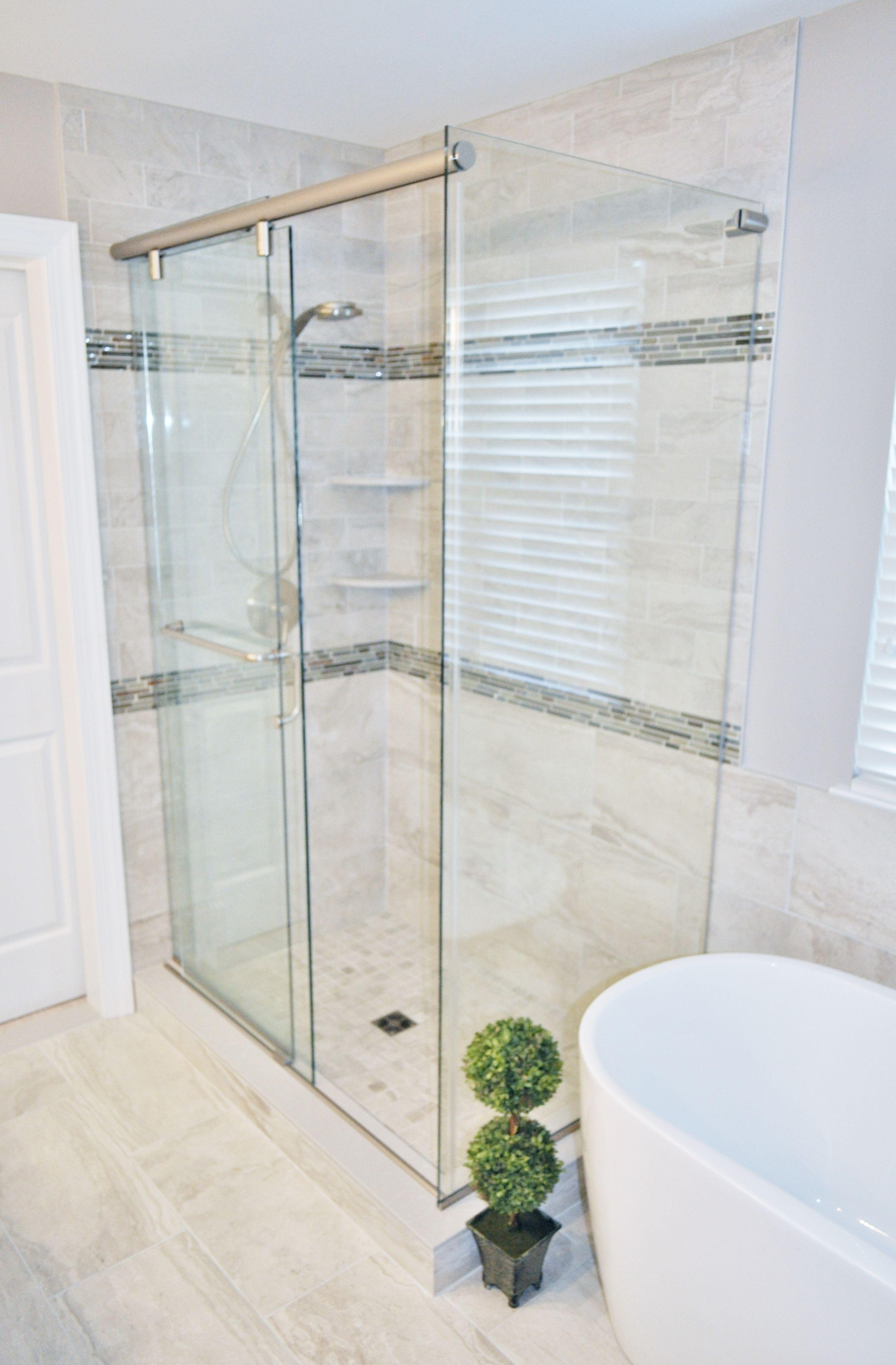 3 panel Hydroslide shower door with brushed nickel hardware. Fly ...