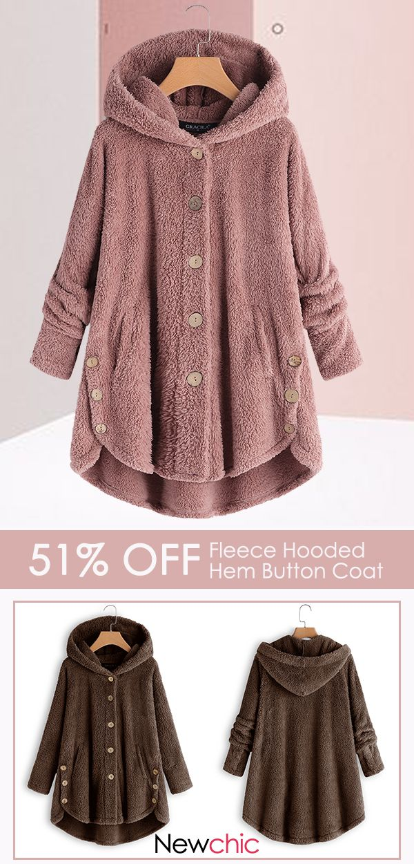 fe021ea149 Fleece warm design, get ready for winter with this soft fleece coat from  Newchic. A neutral color and cozy hood make it a versatile addition to your  ...