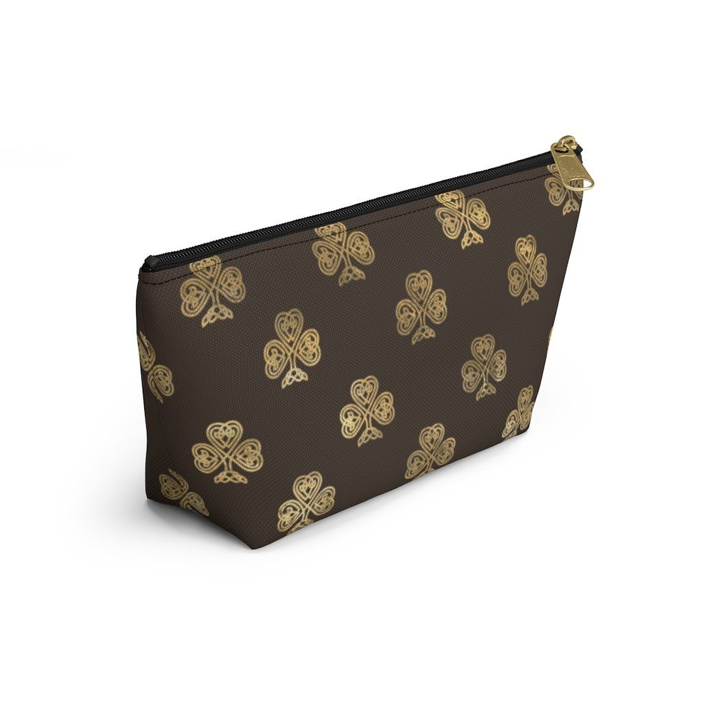 Photo of Chocolate and Gold Celtic Knot Shamrocks – Makeup Bag – Small / Black