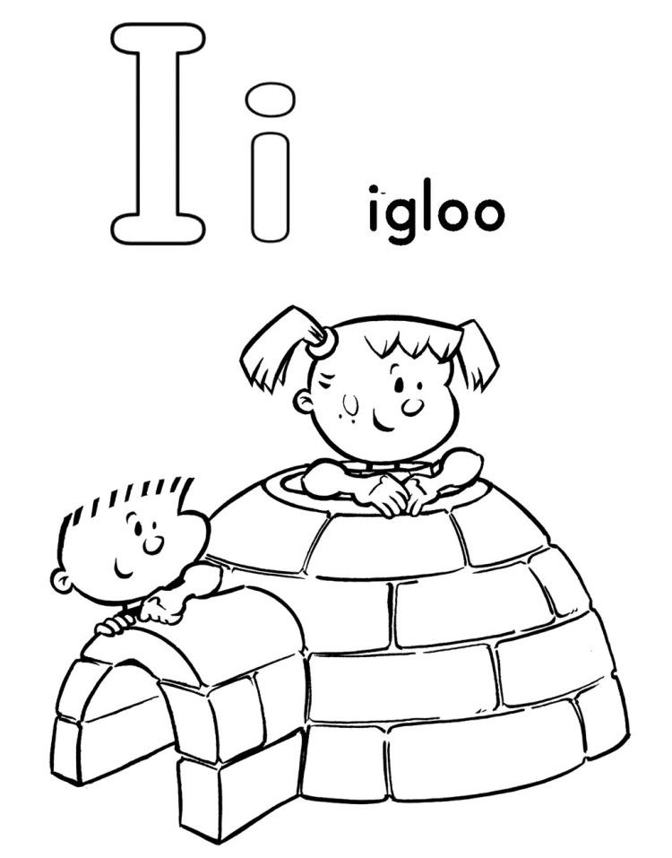 I For Igloo Coloring Pages (With images) Alphabet