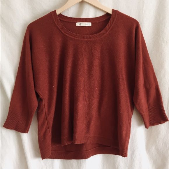 2bc4105960e7a9 Burnt orange sweater top Forever 21 burnt orange/rust colored crewmen  sweater top with 3/4 sleeves. Size large but runs small. Some minor pilling Forever  21 ...