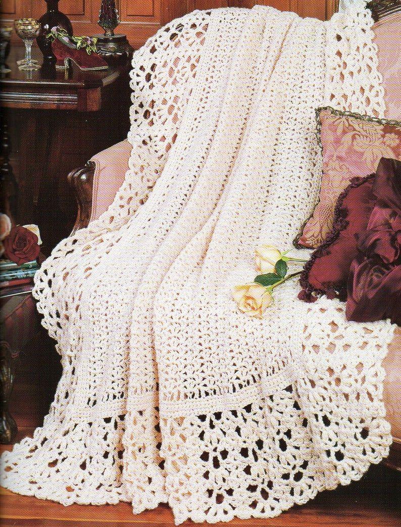 Vintage Crochet Pattern Easy Crochet Vintage Afghan 47 x 63 Home Decor Crochet Blanket Worsted Weight Yarn PDF Instant Download