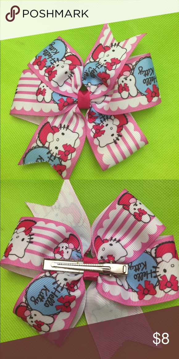 a6adefe08 Hello kitty pinwheel bow Hello kitty handmade hair bow with alligator clip  Accessories Hair Accessories