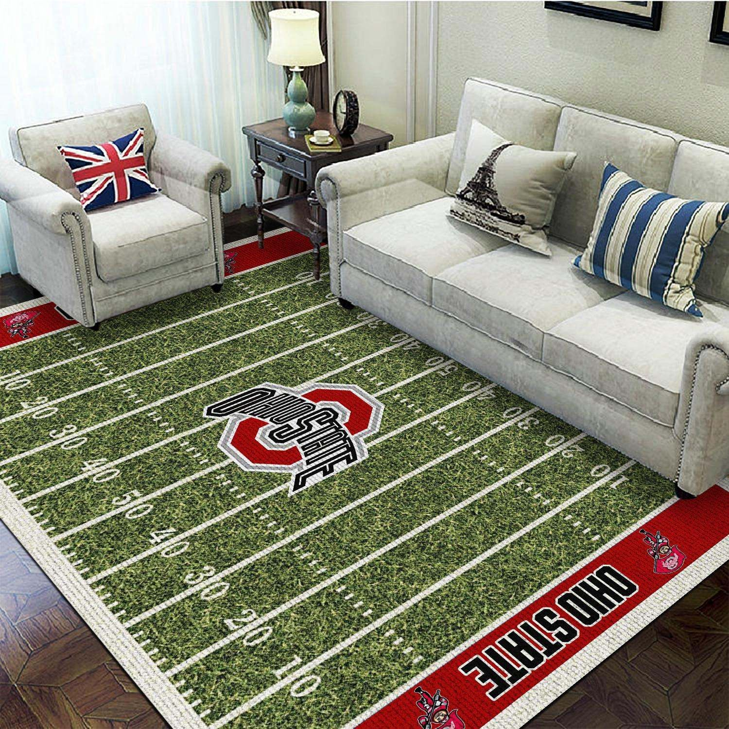 Football Field Ohio State Buckeyes For Sport Fans Area Rug