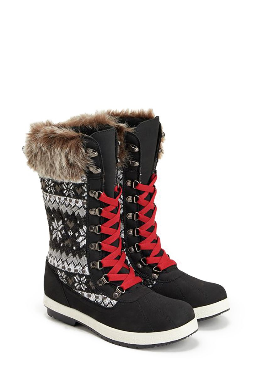 Finish off your cold weather style with Manasa by JustFab. Faux-fur, printed sweater detail and bold laces get these boots ready for the slopes and beyond.