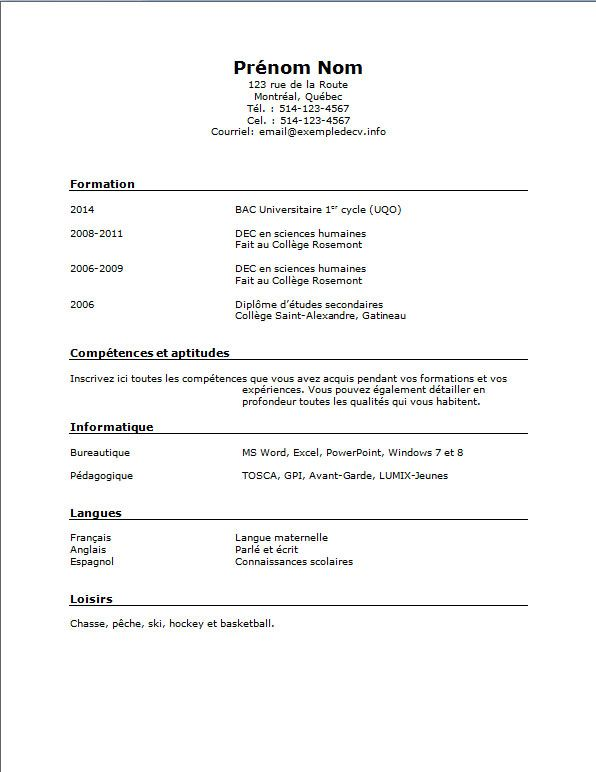 Modele Cv Gratuit Etudiant Business Resume Pinte