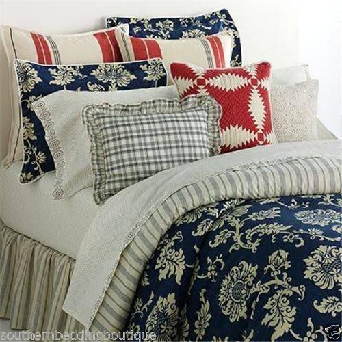 Chaps French Riviera King Comforter Set Blue Tan Floral Stripe Full Comforter Sets