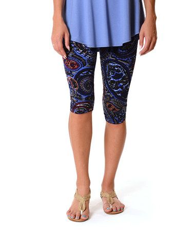 Another great find on #zulily! Navy & Royal Paisley Capri Leggings #zulilyfinds