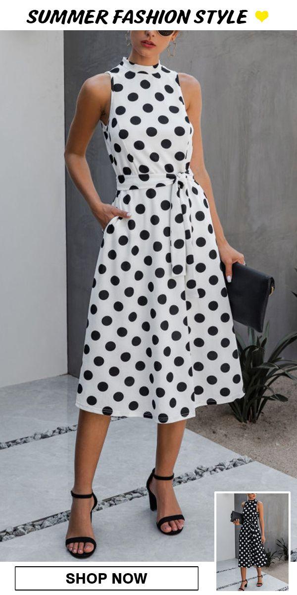 Chic Holiday Polka Dot Lace Up Dress
