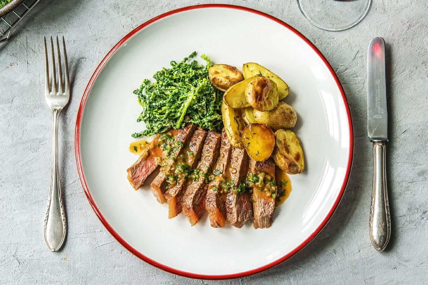 Strip Steak Bearnaise with Creamed Kale and Rosemary Potatoes