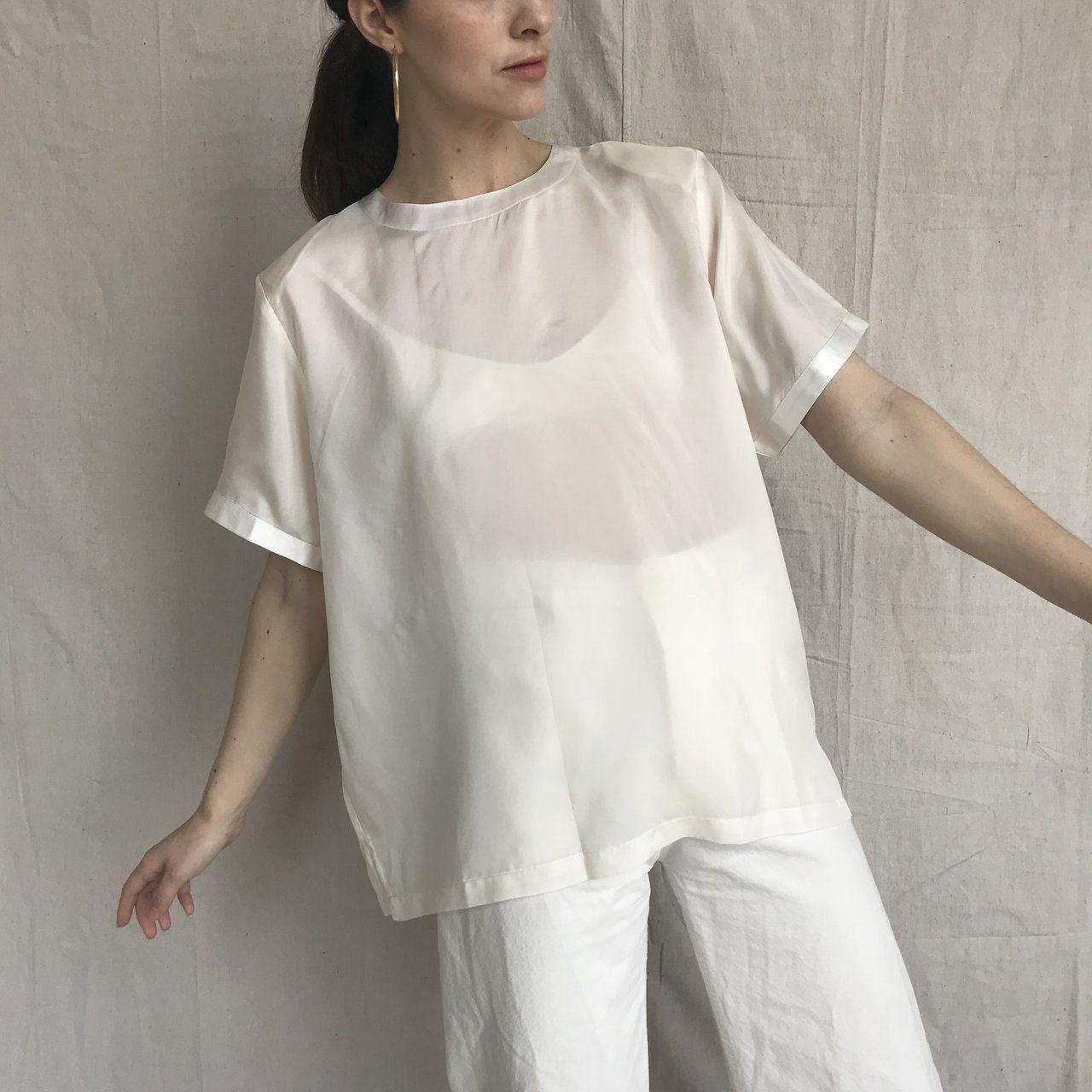 28ab73c1 Vintage 90s mod 100% silk ivory blouse. Boxy oversized Semi - Depop ...