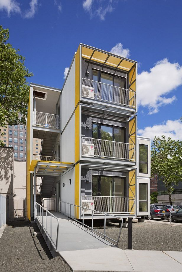 Garrison Architects created this prefabricated modular stackable tiny housing concept for the purpose of emergency/disaster housing. At a first glance, they look like shipping containers, but they'...
