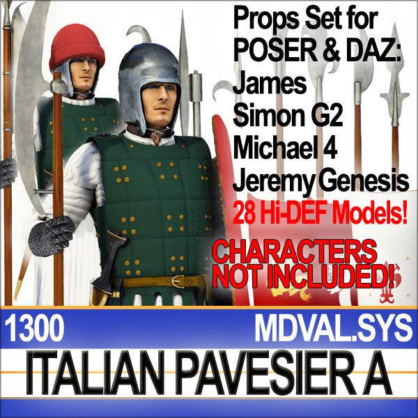 PROPS SET for POSER-DAZ Standard Characters  CHARACTERS NOT