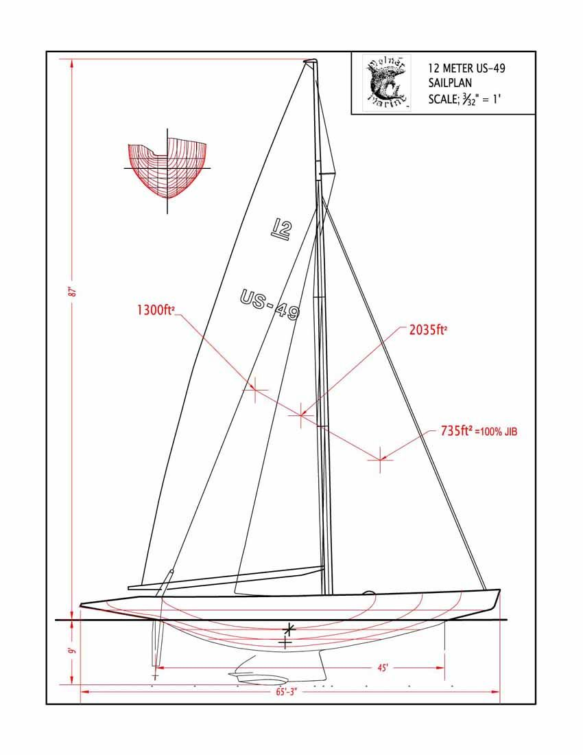 USA-49 12-metre sail plan | Classic Sailing | Classic sailing, Boat design, Boat plans